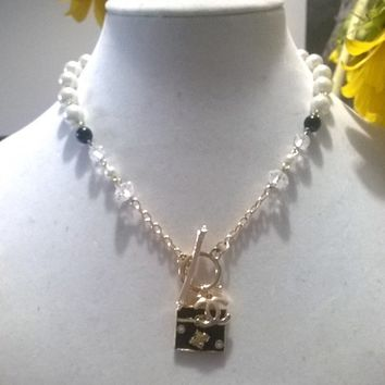 "Adorable 18"" Designer Runway Pearl and Crystal Charm Necklace"