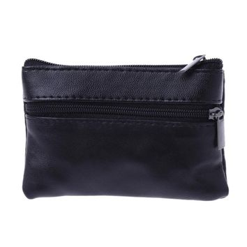 THINKTHENDO Soft Men Women Card Coin Key Holder Zip Short Leather Wallet Pouch Bag Synthetic Leather Purse Gift Polyester New