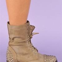 Rylie Studded Combat Boots - Stone at Necessary Clothing