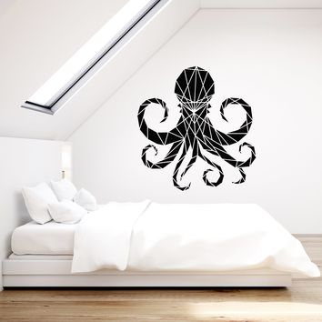 Vinyl Wall Decal Polygonal Octopus Beautiful Room Decor Art Stickers Mural (ig5344)