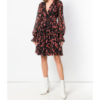 Giambattista Valli Floral Dress - Black Long Sheer Sleeves Dress