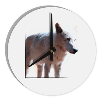 "Magnificent Full White Wolf 8"" Round Wall Clock"