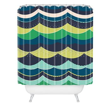 Vy La Unwavering Love Blue Green Shower Curtain