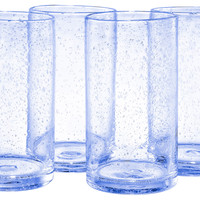 Iris Highball Glasses, Light Blue, Set of 4, Highballs