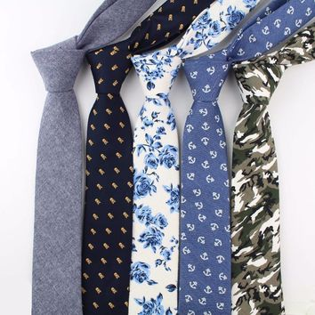 Flower Cotton Necktie Skeleton Artificial Skinny Ties Men Camouflage Small Tie Anchor Designer Star Cravat