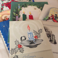Vintage Christmas Holiday Cards Lot - Ephemera Collage Creative Spark Paper Pack - collage materials - assemblage - altered art - repurposed