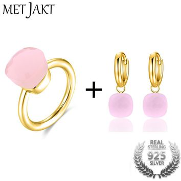 Natural Agate Earring/Ring Sets 14K Rose Gold Color Jewelry Solid 925 Sterling Silver Rings