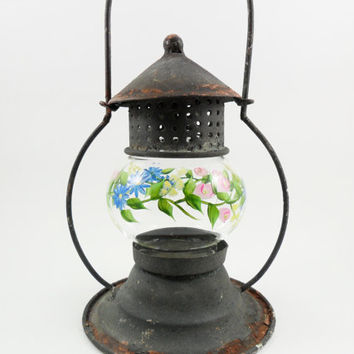 Hand Painted Candle Holder Lantern Glass Tin Antique Black Rust Shabby Chic Flower Garden