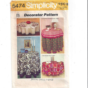 Simplicity 5474 Pattern for Round Tablecloths, 3 Sizes & Napkins, From 1973, FACTORY FOLDED, UNCUT, Vintage Pattern, Home Sewing, Decorator