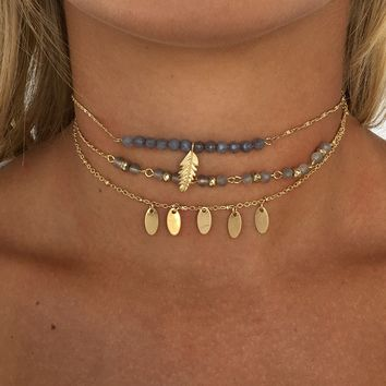 Feather Layered Choker Set