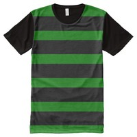 Cute Striped Pattern in Black and Kelly Green All-Over-Print Shirt