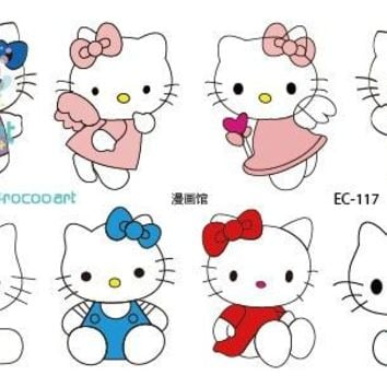 Rocooart EC117 Colorful Emotion Candy Color Girl Hello Kitty Temporary Tattoo Sticker Body Art Water Transfer Fake Flash Taty
