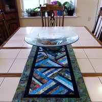 Modern Quilted Batik Table Runner greens blues teal