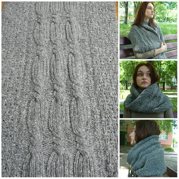 Grey infinity scarf, Knitted cowl, Gray cowl scarf, Loop scarf, Cable scarf, Wool scarves for women, Wrap shawl, Neck warmer, Gift for her