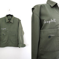 Vintage Army Green Members Only Style Ladies Jacket - Zip Up Cropped Jacket - Size Large