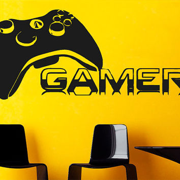 Wall Decal Vinyl Sticker Decals Art Decor Design  Gamer Players Gaming Time xbox 360 ps3 Game Controller Kids Children Nursery Bedroom(r568)