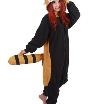 Adults Winter Flannel Cute Cartoon Animal Raccoon Raccon Kigurums Footed Pajamas Onesuit Red Panda Cosplay Costume
