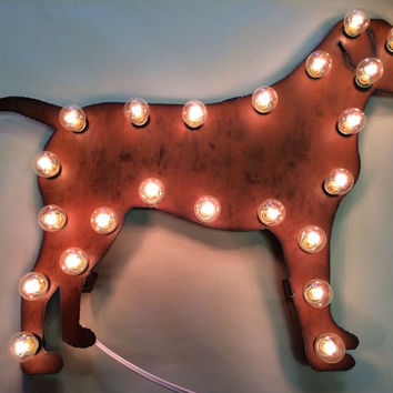 LAB LABRADOR Lighted Marquee Sign made of Rusted Recycled Metal Vintage Inspired