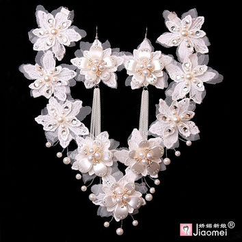 The high-end white pearl necklace and Earrings accessories lace bride female chain set = 1929496196