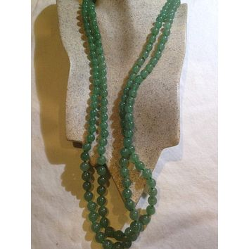 Nemesis hand knoted vintage Jade green Aventurine beaded necklace