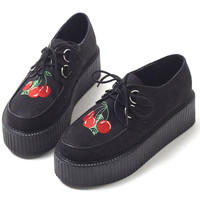 Cherry Embroidered Creeper Platform Shoes