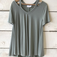 Janette Plus Women's Keyhole Shoulder Cut Out Top Sage Green