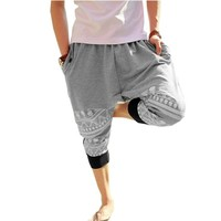 2 Colors Mens Cotton Loose Harem Pants Printed Harem Calf-length Pants (L, Gray)