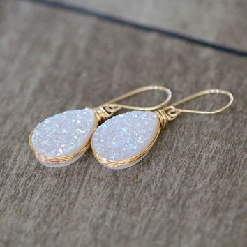 Druzy Teardrop Earrings - Cottontail