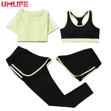UMLIFE 4 Piece Set Yoga Suit Women Sport Suit Yoga Set Plus Size Yoga Bra Yoga Leggings Fitness Sportswear Gym Workout Clothes