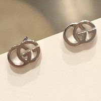 GUCCI S925 Silvery Simple Double G Mini Earrings Jewelry Accessories