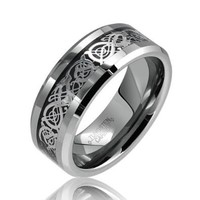 Bling Jewelry Tungsten Celtic Dragon Black Inlay Comfort Fit Wedding Band