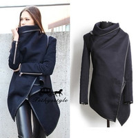 2014 Top Trendy Long Zipper Worsted Overcoat  New Style Winter Women's Trench Coat = 1956473732