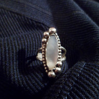 Authentic Navajo,Native american,Southwestern sterling silver mother of pearl ring.Size 8.Can adjust up to 9.