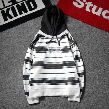 LMFOP7 Supreme Women Fashion Stripe Loose Hoodie Pullover Top Sweater