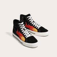 BLACK HIGH TOP SNEAKERS WITH FLAMES