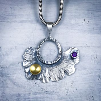 Sterling Silver Fan Leaf with 22 K Gold and Amethyst Necklace