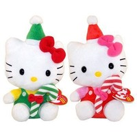 TY Beanie Babies - HELLO KITTY ( Set of 2 - Red & Green Candy Canes )