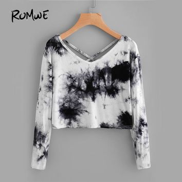 Water Color T-shirt Black Casual Women Tie Dye Crisscross Back Tops Fashion Spring Fall Sexy Long Sleeve New T-shirt