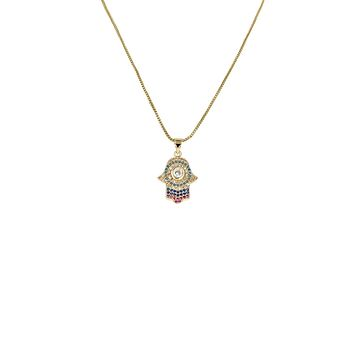 18CT Yellow Gold Hamsa Hand Protector Pendant Necklace