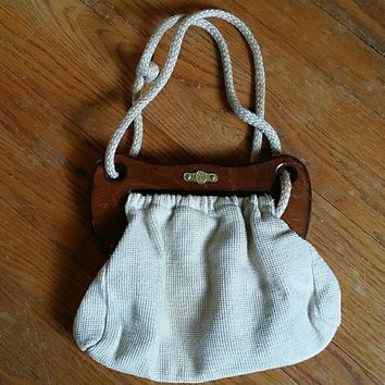 "Vintage ""FS"" Canvas & Wood Bag/Purse"