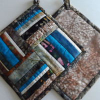 Modern pot holders, set of 2, contemporary design, batik fabrics, hanging pot holders, blue, brown, cream, quiltsy handmade