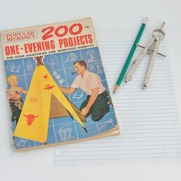 1950's Vintage Popular Mechanics Magazine - 200 One-Evening Projects for Home Handyman and Workshop Hobbyist