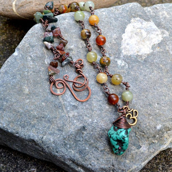 Rustic Necklace, Fire Jade, Turquoise Pendant, Oxidized Copper, Gypsy Necklace, Ohm Jewelry, Bohemian Artisan Jewellery, Unique, OOAK