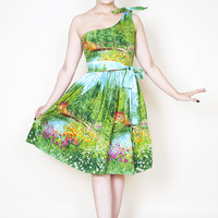 Ana Pin Up Swing Dress in Serenity Bridge