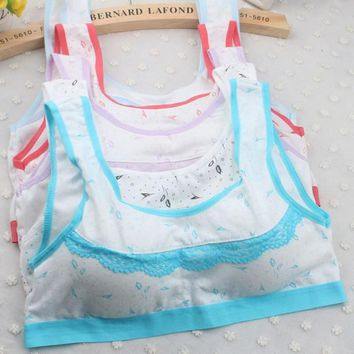 Teenage Girls Underwear Cotton Bra Top Intimates For Kids Children Young Cute Printing Small Bra Tube Tops Teens Undies Puberty
