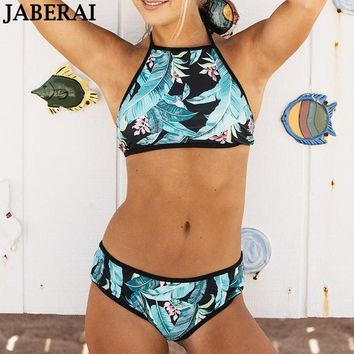 JABERAI Halter Top High Neck Bikini Set Women Swimwear 2018 Brazilian Bikini Green Print Summer Bathing Suit Female Swimsuit