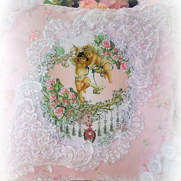 Cherubs with Doves  Crystal Roses  Victorian Pillow