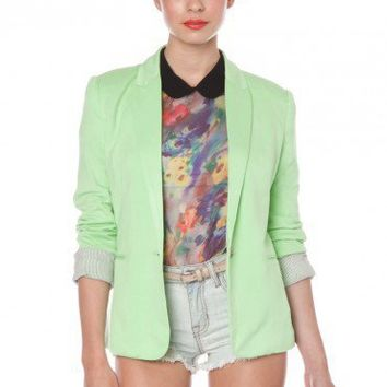 Liv Blazer in Lime - ShopSosie.com