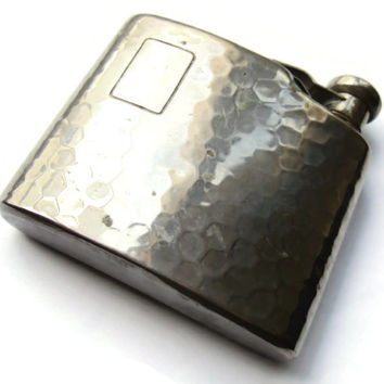 Small English hammered hip flask, approx 2 oz, hinged lid, vintage hipflask, unusual small size, 1930s, #191.