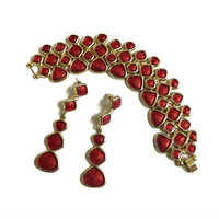 Red Enamel Wide Bracelet and Long Dangle Earrings Set Vintage Statement